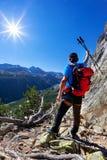 El caminante toma un resto observando un panorama de la monta?a fotos de archivo libres de regalías