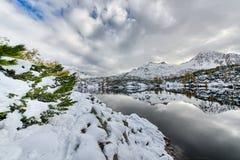 El caminar al lado del lago alpino con nieve Imágenes de archivo libres de regalías