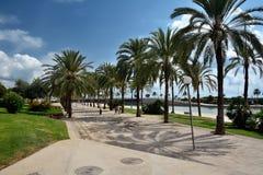 El caminar cerca de la catedral de Palma de Majorca Imagenes de archivo