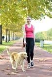 El caminar con el perro Imagenes de archivo