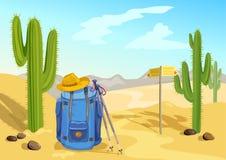 El caminar con una mochila viaje a través del desierto con los cactus ilustración del vector