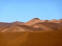El caminar de la gente de la duna de Namibia Imágenes de archivo libres de regalías