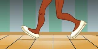El caminar de las piernas de la persona negra stock de ilustración