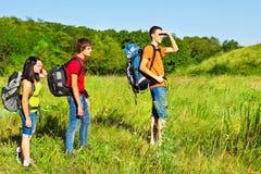 El caminar de los Backpackers Fotografía de archivo