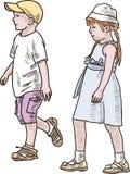 El caminar de los niños Imagen de archivo