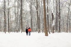 El caminar de los pares del invierno al aire libre Fotos de archivo