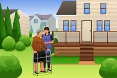 El caminar de señora Helping Elderly Woman Imágenes de archivo libres de regalías