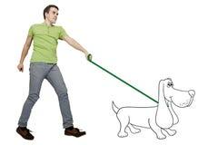 El caminar del perro Fotos de archivo