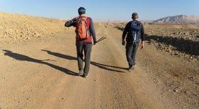 El caminar en el desierto del Néguev de Israel imagen de archivo