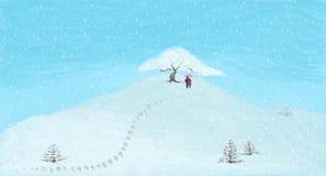 El caminar en el ejemplo nevoso de la montaña ilustración del vector