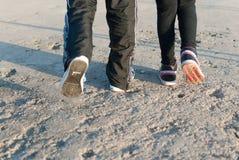 El caminar en el camino concreto Fotografía de archivo libre de regalías