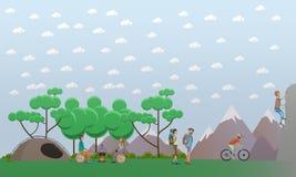El caminar en el elemento del diseño de concepto de las montañas en estilo plano stock de ilustración