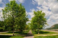 El caminar en el parque de la ciudad Imagenes de archivo