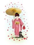 El caminar en la lluvia de flores Imágenes de archivo libres de regalías