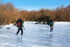 El caminar en la nieve 4 Imágenes de archivo libres de regalías