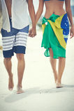El caminar en la playa Imagen de archivo