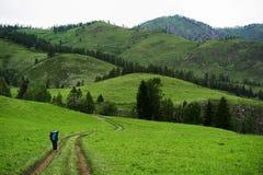 El caminar en montañas una muchacha camina abajo del rastro Fotografía de archivo