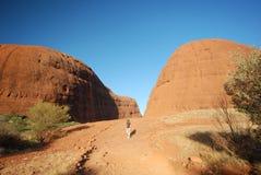 El caminar en Olga (Katatjuta) en Australia imagen de archivo libre de regalías