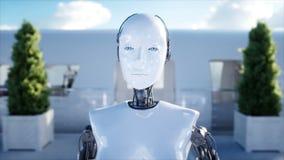El caminar femenino del robot Estación de Sci fi Transporte futurista del monorrail Concepto de futuro Gente y robots 4k realista ilustración del vector