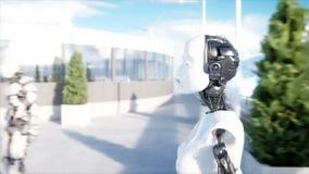 El caminar femenino del robot Estación de Sci fi Transporte futurista del monorrail Concepto de futuro Gente y robots 4k realista libre illustration