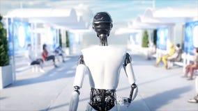 El caminar femenino del robot Estación de Sci fi Transporte futurista del monorrail Concepto de futuro Gente y robots 4k realista