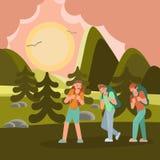 El caminar joven de los viajeros stock de ilustración