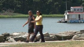 El caminar a lo largo del agua almacen de video