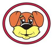 El caminar rojo redondo del perro de la muestra Imagenes de archivo