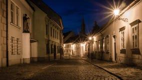 El caminar a través de ciudad vieja en la noche Fotos de archivo