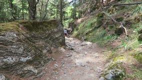 El caminar a través de Samaria Gorge en Creta Grecia Arrastre llevar a través de las montañas de Lefka Ori hacia el mar metrajes