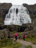 El caminar turístico no identificado a la cascada de Dynjandi, Islandia Fotografía de archivo libre de regalías