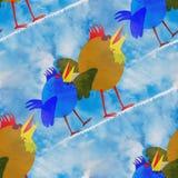 El caminar verde ocre azul de los pájaros abstractos en rastros de condensación en el cielo azul diagonalmente ilustración del vector