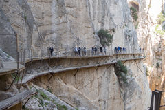 «EL Caminito del Rey» (λίγη πορεία του βασιλιά), παγκόσμιος ο περισσότερος κίνδυνος Στοκ Φωτογραφίες