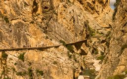 El Caminito del Rey, Andalucia, Spain. A narrow wooden walkway along the rock-face royalty free stock photo