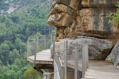 El Caminito del Rey around rocks, long shot Royalty Free Stock Image