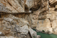 El Caminito del Rey dangerous footpath in canyon Royalty Free Stock Image