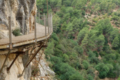 El Caminito del Rey dangerous footpath over wall Royalty Free Stock Photos