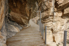 El Caminito del Rey dangerous footpath over wall Stock Images