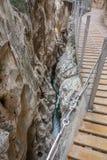 El Caminito del Rey dangerous gorge closeup in canyon Stock Photos