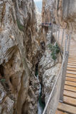 El Caminito del Rey dangerous gorge closeup in canyon Royalty Free Stock Image
