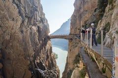 'El Caminito del Rey' (il Little Path di re), la maggior parte del pericolo del mondo Fotografie Stock Libere da Diritti