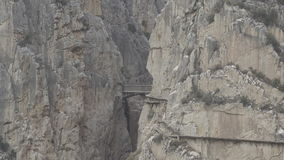 `El Caminito del Rey` zoom out from final bridge, route end stock video footage