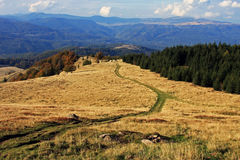 El camino abajo de la montaña Fotos de archivo libres de regalías
