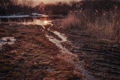 El camino al lago/al río durante las primeras heladas del otoño o durante el deshielo de la primavera Imagen procesada en tonos r Fotos de archivo