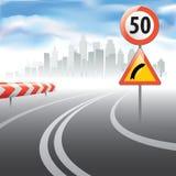 El camino con la muestra del límite de velocidad de la velocidad ilustración del vector