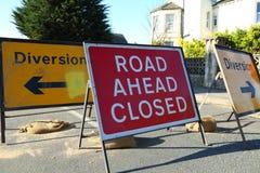 El camino a continuación se cerró Foto de archivo