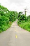 El camino curva cuesta abajo con el parque de naturaleza verde Fotos de archivo