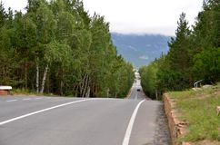 El camino de la montaña, indica el parque natural nacional Imágenes de archivo libres de regalías