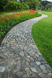 El camino de piedra del paseo del bloque en el parque con la hierba verde y el flowe Imágenes de archivo libres de regalías