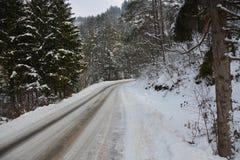 El camino en el área del bosque se cubre en nieve Imagenes de archivo